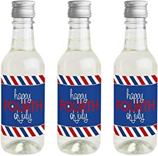product image for Big Dot of Happiness 4th of July - Mini Wine and Champagne Bottle Label Stickers - Independence Day Favor Gift for Women and Men - Set of 16