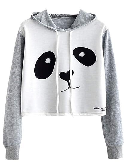 26ad40f3825fd Amazon.com  Women s Crop Top Teen Girls Cropped Hoodie Panda Print Sweater Jacket  Sweatshirt Jumper Pullover Tops Clearance Sale  Clothing