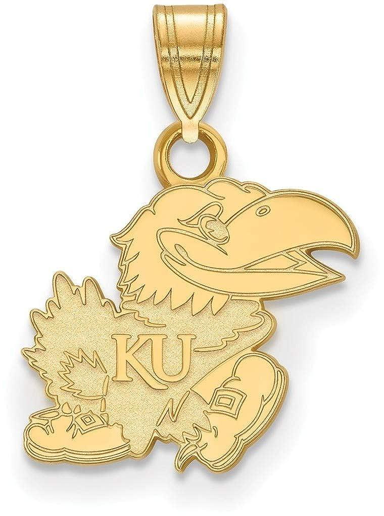 Gold-Plated Sterling Silver University of Kansas Small Pendant LogoArt GP066UKS