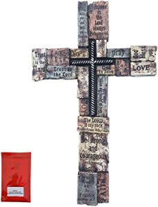 Inspirational Bible Verses Wall Cross on Wood-look Bricks Large 17 Inch Christians Words and Sayings Home Decor, Faith Hope, Strength, Pray, Family, Love, Trust, God Bless You with Mounting Hardware Set