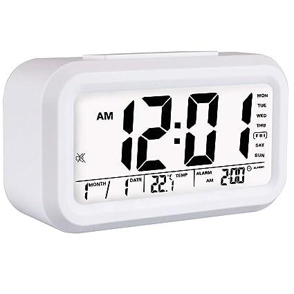 Reloj despertador, aitey – Reloj despertador parlante con gran pantalla digital, opcional semana alarma