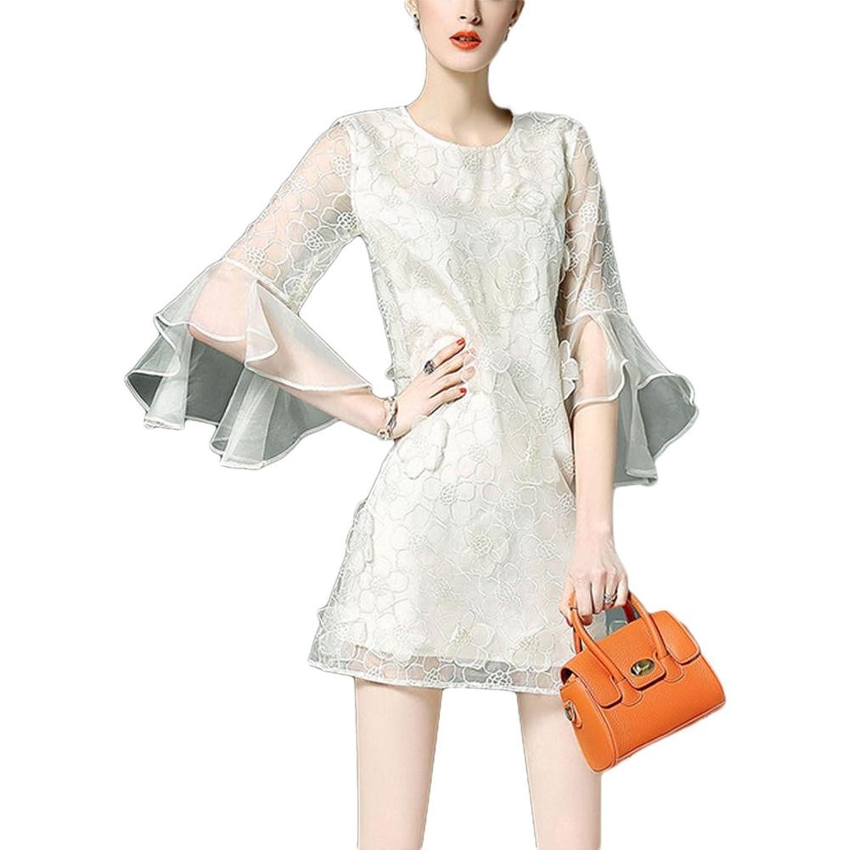 Mode einfaches Kleid Rundhals Kleid - rosa xl white