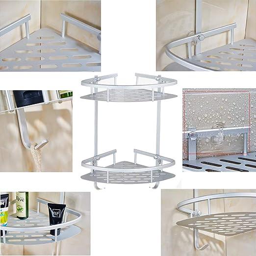 AIYoo - Estante de ducha esquinero de aluminio sin perforaciones, 2 estantes de esquina para cocina, baño, ducha, organizador de ducha con ganchos para champú – montaje en pared, ventosa adhesiva: Amazon.es: