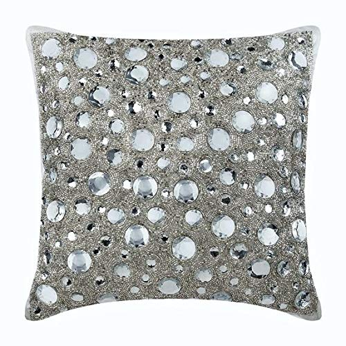 22''x22'' Throw Pillow Covers, Silver Throw Pillow Covers, Rhinestones and Crystals Sparkly Glitter Pillows Cover, Art Silk Throw Pillow Covers, Polka Dot Modern Cushion Covers - Diamonds Everywhere