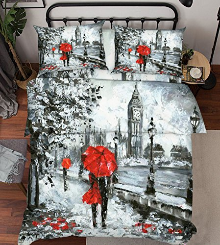 Street Duvet - 3D Rainy Street London 333 Bedding Pillowcases Quilt Duvet Cover Set Single Queen King | 3D Photo Bedding , AJ WALLPAPER US Summer (Full)