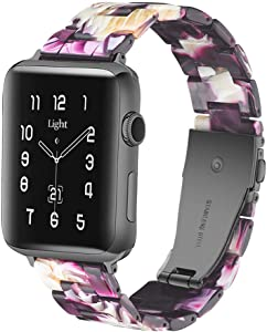 Light Apple Watch Band - Fashion Resin iWatch Band Bracelet Compatible with Copper Stainless Steel Buckle for Apple Watch Series 6 Series SE Series 5 Series 4 Series 3 2 1(Dazzling Purple, 42mm/44mm)