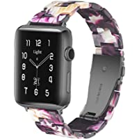 Light Apple Watch Band - Fashion Resin iWatch Band Bracelet Compatible with Copper Stainless Steel Buckle for Apple…