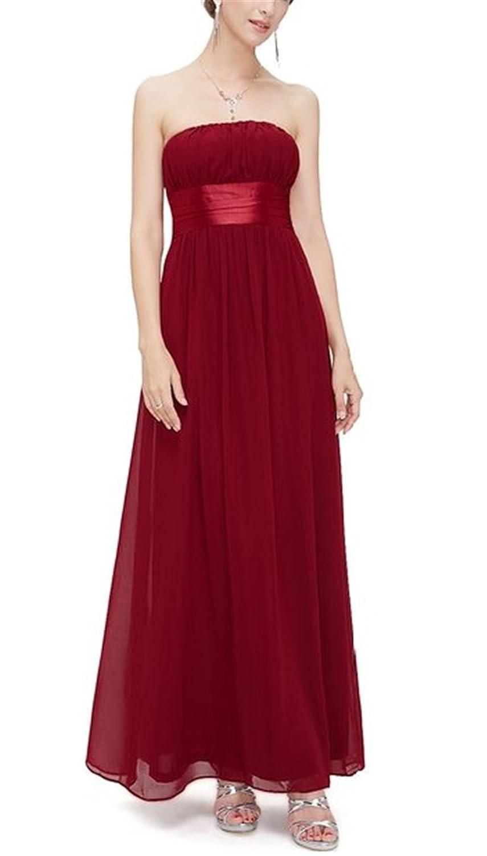 HelloGirls Charming Empire Waist Bowtie Strapless Long Evening Prom Dress