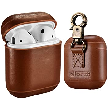 AirPods Funda Case, ICARER Piel Genuina Cuero Luxury Vintage Portátil Ultra Protección Cover Funda Carcasa con Llavero Para Apple AirPods 1&2 (LED ...