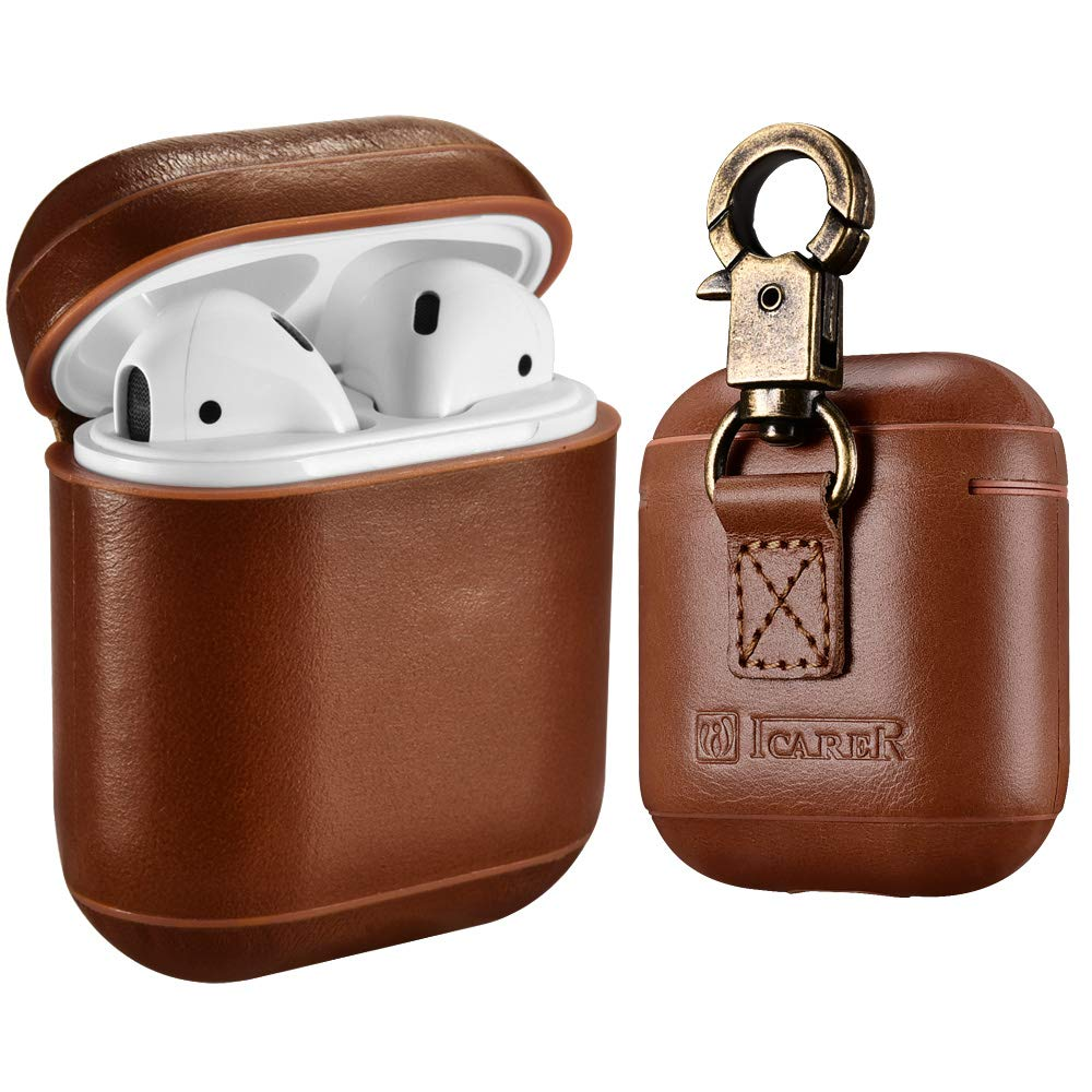 AirPods Leather Case with Strap, ICARER Genuine Leather Portable Protective Shockproof Cover for Apple AirPods 1 Case & Airpods 2 case Keychain Support Wireless Charging (Brown)