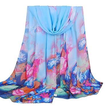 ... Grand foulard de vase Longue écharpe douce Mesdames châle Écharpe en  mousseline de soie (160x50cm) (160x50cm, Bleu)  Amazon.fr  Vêtements et  accessoires 8f2d5c3742f