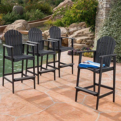 Adirondack Bar - Christopher Knight Home 303477 Malibu Outdoor Acacia Wood Adirondack Barstools, Dark Grey