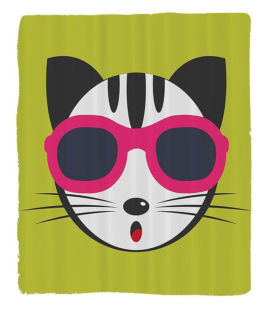 Chaoran 1 Fleece Blanket on Amazon Super Silky Soft All Season Super Plush Animal Cute Kitten Wearing Pinkun Glasses Cool Modern Hipster Cat Fashion Fun Pets Art Print Fabric by chaoran