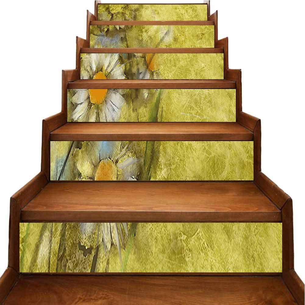 Creative Decorative 3D Stair Decal Chamomile Apple Motif Herbal Plant Cosmo Weed Retro Image Light Yellow Self-Adhesive Backsplash Stickers 3D Mural Art Home Decoration, W39.3 x H7 inch