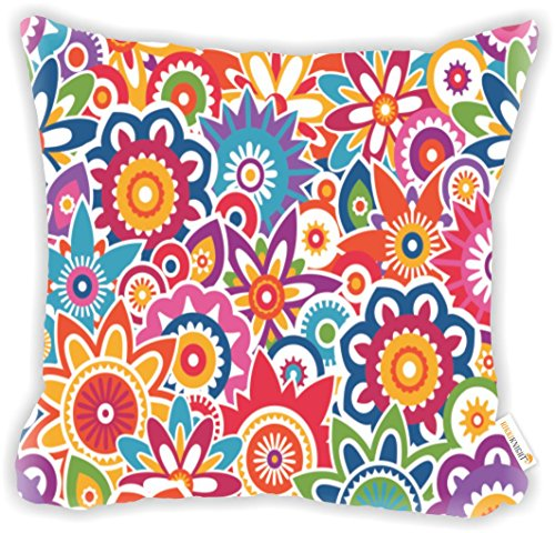 (Rikki Knight Abstract Art Retro Floral Pattern Microfiber Throw Décor Pillow Cushion 16
