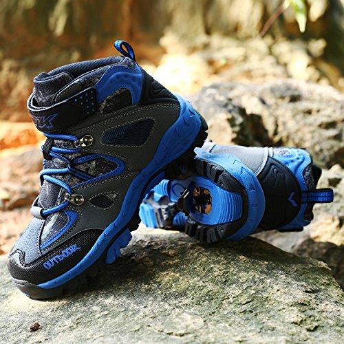 Zapatos De Senderismo Para Niños Ashion Botas De Nieve Para Caminar Suela De Acero Antideslizante Con Hebilla Impermeable Zapatillas De Deporte De Algodón Para Escalar Al Aire Libre De Invierno 1-azul-delgado