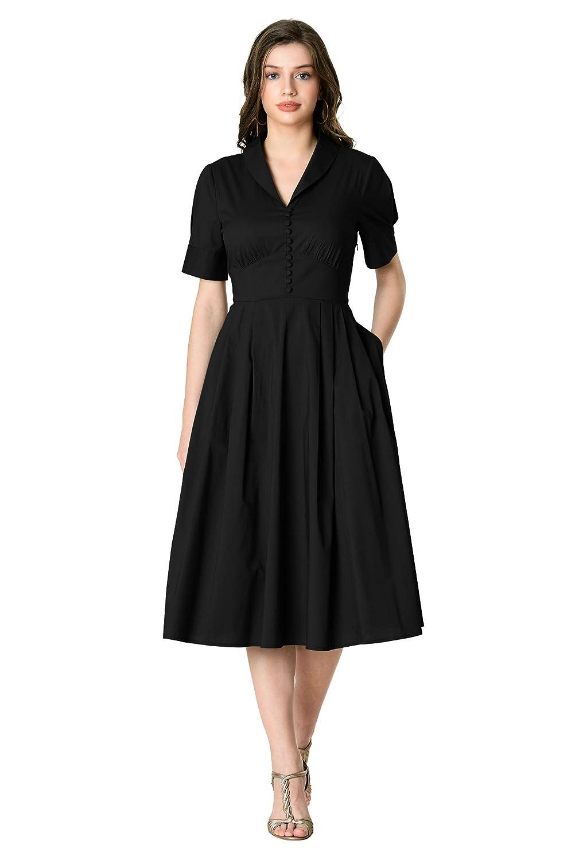 Vintage 50s Dresses: Best 1950s Dress Styles eShakti FX Shawl Collar Cotton poplin Banded Empire Dress - Customizable Neckline Sleeve $59.95 AT vintagedancer.com