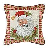 14'' Needlepoint Pillow - Santa In Holly