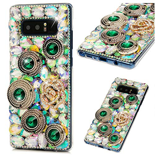 Galaxy Note 8 Case, Note 8 Case, Diamond Series Full Body Ultra-Thin Plastic Cover Bling Colorful Rhinestone Crystal Shockproof Protective Case for Samsung Galaxy Note 8 - Green Gemstone