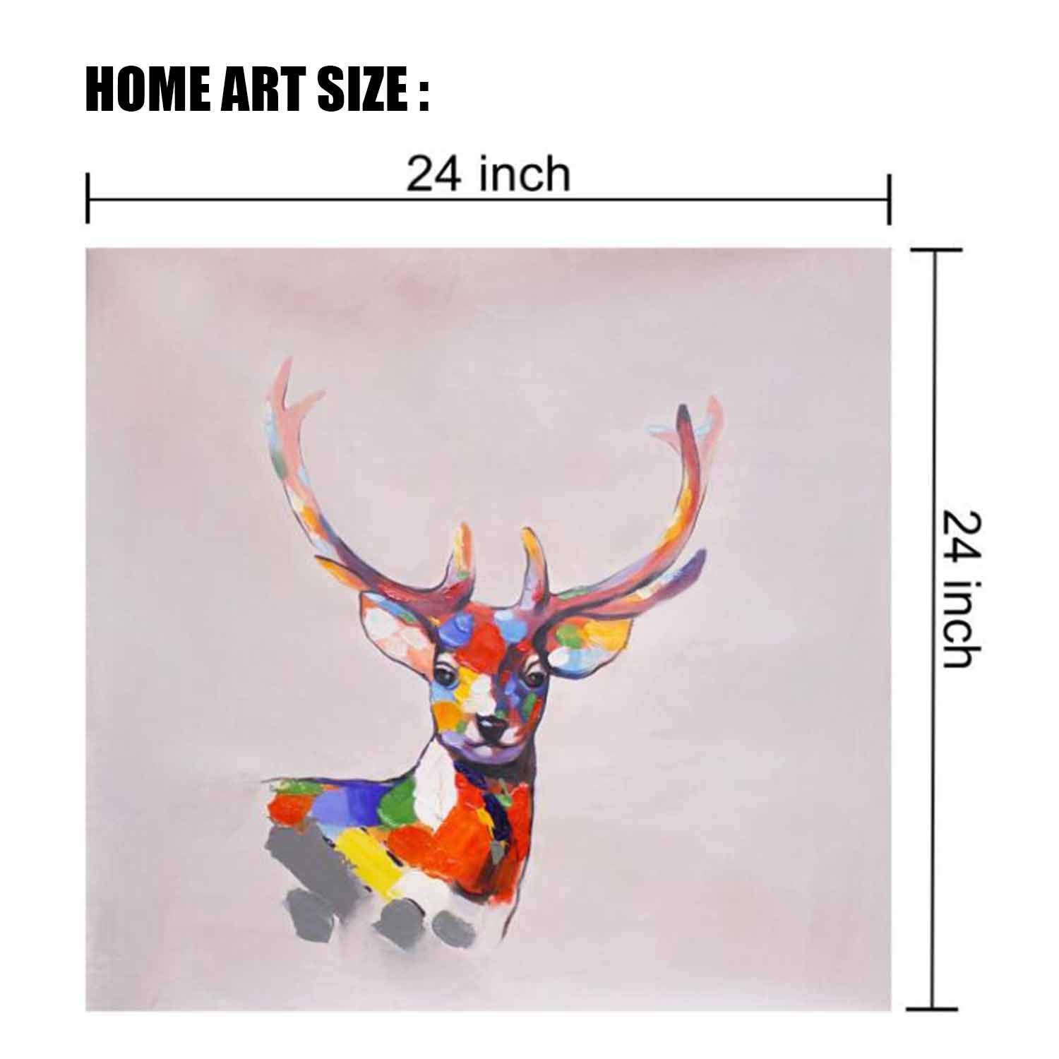 24 x 24 Wall Oil Canvas Painting for Home Decorations HwaGui Art Hand Painted Colour Zebra