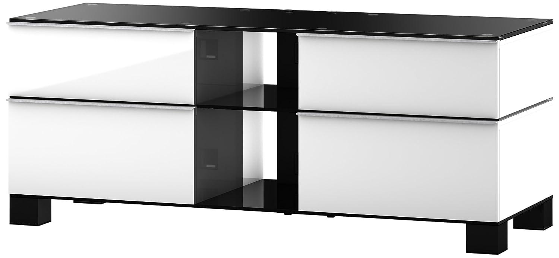 Sonorous MD 9220-B-HBLK-WHT Fernseher-Möbel mit Schwarzglas (Aluminium Hochglanz, Korpus Hochglanzdekor) weiß/schwarz