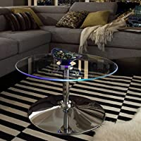 Modern Style LED Accent Tempered Glass Top Round Shaped Table-Caley Cocktail Coffee Table | Chrome Metal Frame, Living Room Decor - Includes Modhaus Living Pen