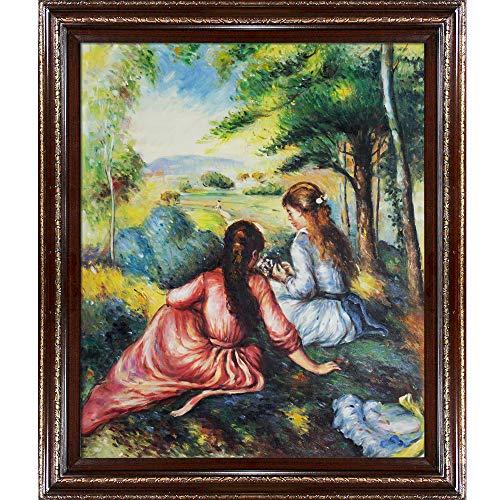 overstockArt Dos niñas en la Pradera Picking Flowers -Framed Aceite reproducción de una Pintura Original por Pierre Auguste...
