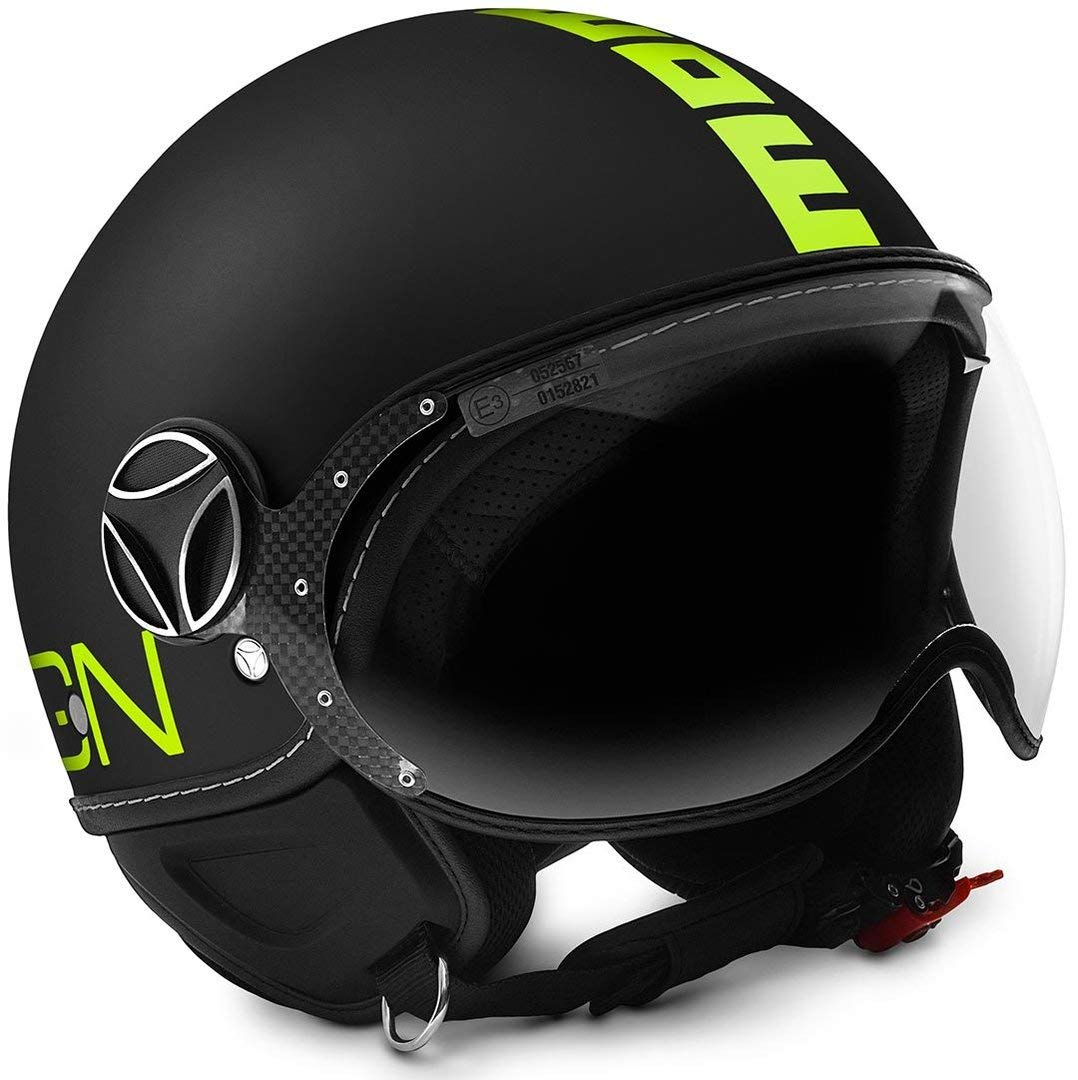 Momo 10010040231 Casco Moto XXS Black Matt//Yellow Fluo