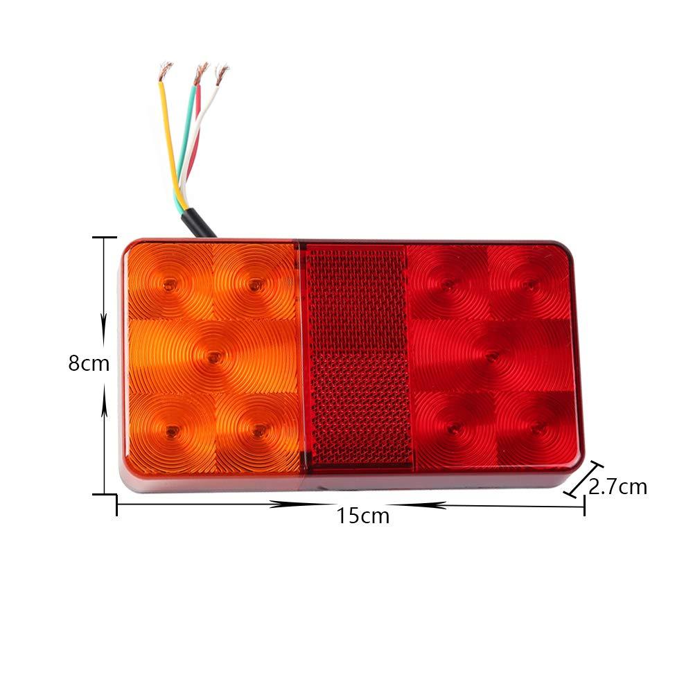 ETUKER 1Pair LED Trailer Lights Trailer Tail Lamp for Caravan//Truck//Trailer//Tail Lamp//Boat 12V Universal Trailer Waterproof Tail Light Trailer Indicator Light With License Plate Lamp 1Pair