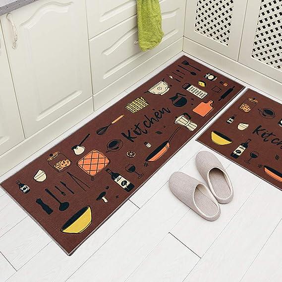 Carvapet 2 Piece Kitchen Rug Set Non-Slip Backing Mat Throw Rug for Kitchen Door