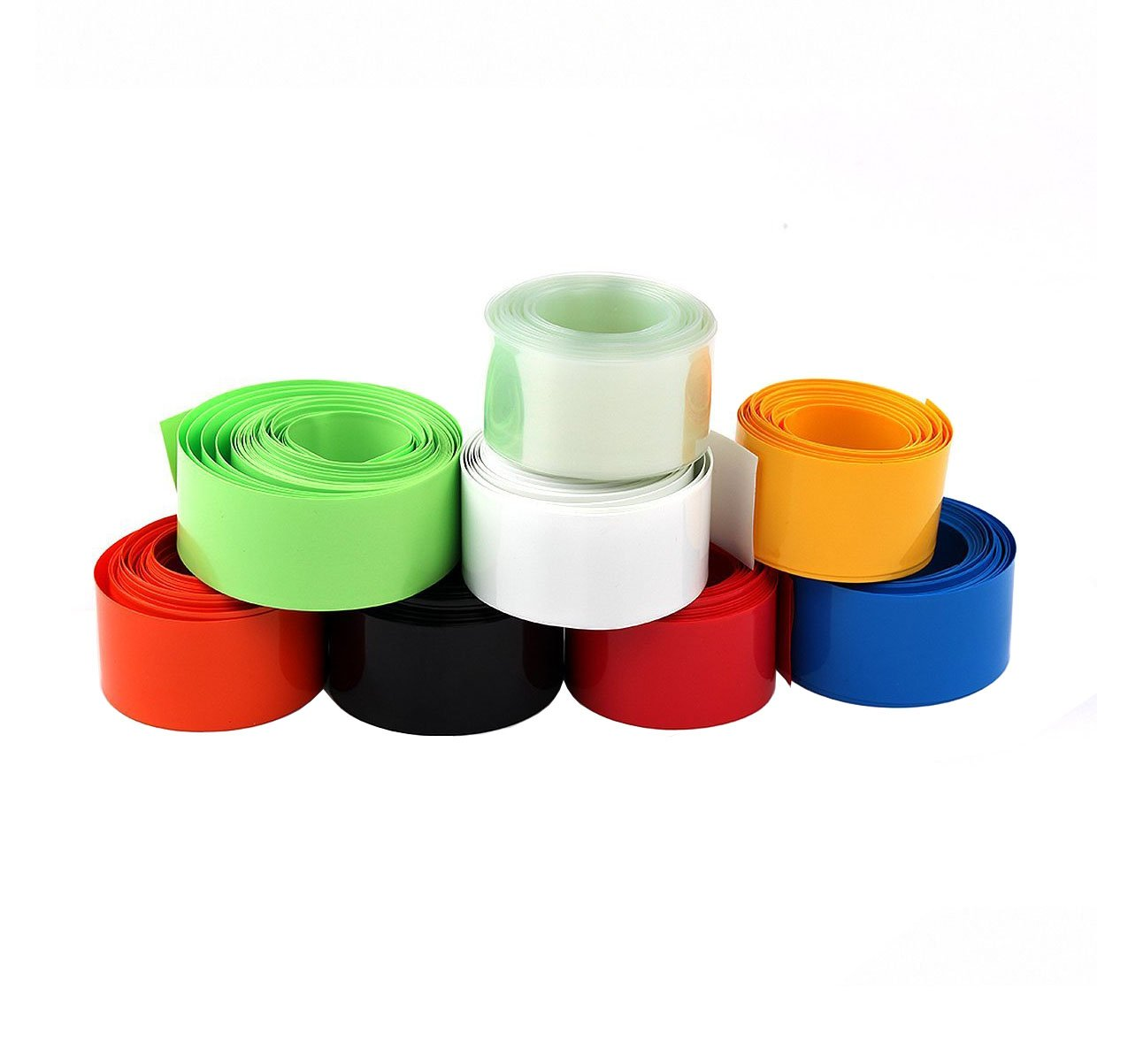 Summer-Home 8 Colors 16.4Ft/5M Flat 29.5MM 18.5MM PVC Heat Shrink Tubing Battery Wrap Tube Roll For 18650 18500 Battery
