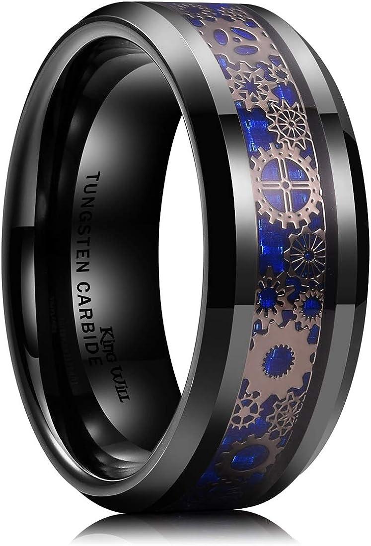 King Will Gentleman Mens 8mm Tungsten Carbide Ring Silver/Gold Gearwheel Black Carbon Fiber Inlay Wedding Band
