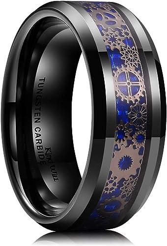 Mens 8MM Blue-Black Carbon Fiber Inlay Tungsten Carbide Ring Black Plated Wedding Band