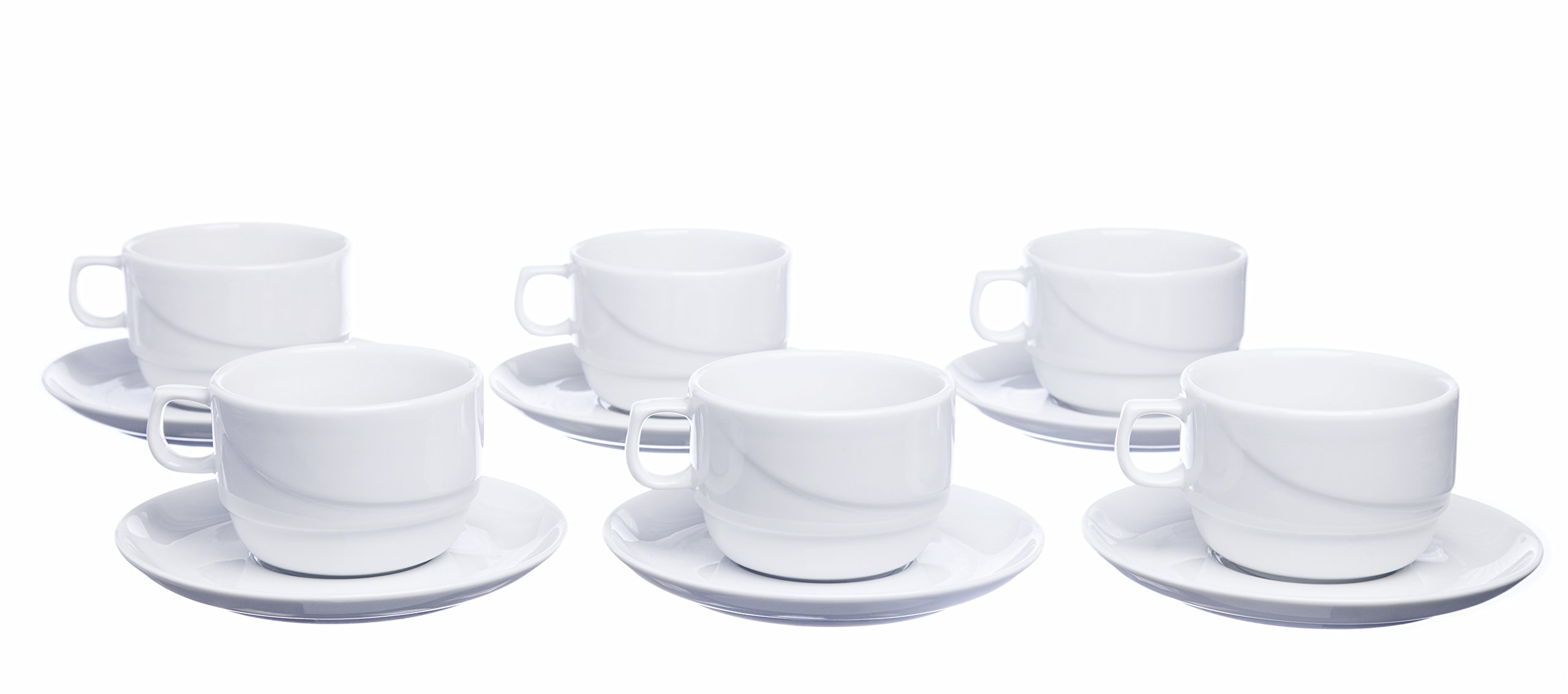 Smart And Cozy STACKABLE 12-Piece Tea/Coffee CUPS with Saucers, White Porcelain, Restaurant&Hotel Quality