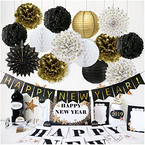 Happy New Year Decorations Happy New Year Banner Chinese Paper Lanterns Tissue Paper Flowers Pom Poms Hanging Paper Fans New Years Eve Party Decorations Kit]()