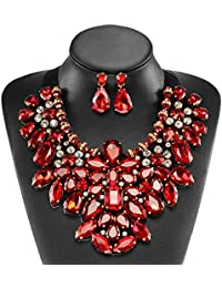 5 Colors Costume Statement Necklace for Women Jewelry Fashion Necklace 1 Set with Gift Box