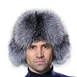 URSFUR Winter Russian Fur Hat Mens Real Silver Fox Fur Ushanka Trapper Cap