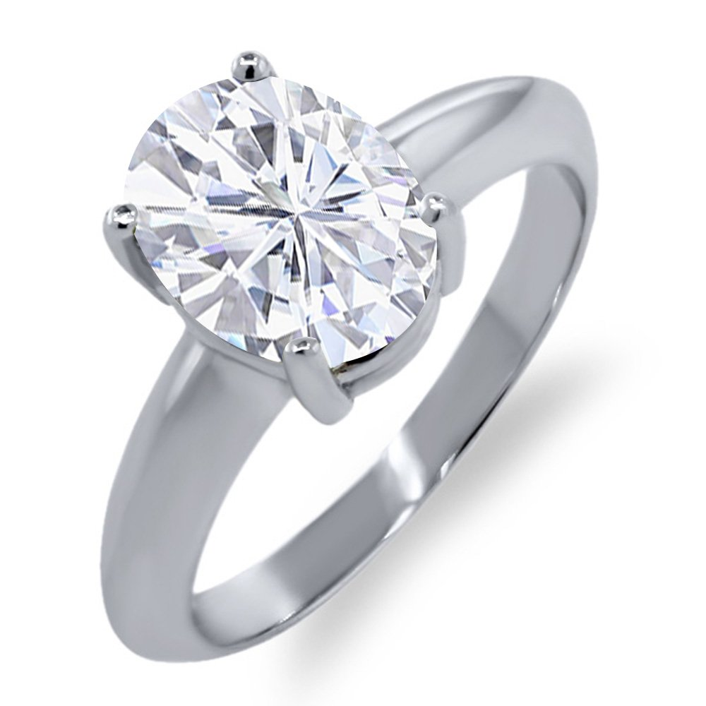 925 Sterling Silver Solitaire Ring Forever Classic Oval 2.10ct (DEW) Created Moissanite by Charles & Colvard