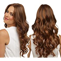 2019 Fashion Synthetic Long Wavy Brown Gradient Dyeing Natural Hair Full Wigs