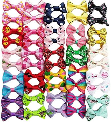 60 Pcs,Cute Patterns YAKA 60PCS Cute Puppy Dog Small Bowknot Hair Bows with Rubber Bands or Clips Handmade Hair Accessories Bow Pet Grooming Products 30 Paris