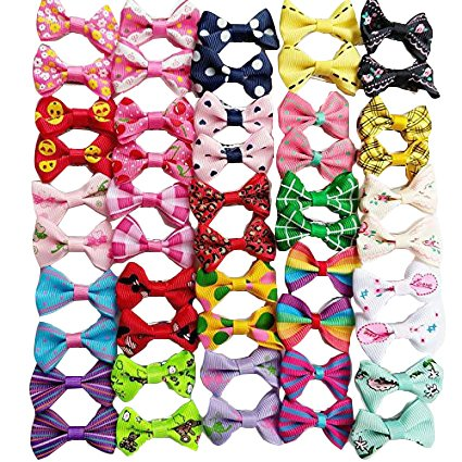 61SWaJywkbL - Chenkou Craft 50pcs/25pairs New Dog Hair Bows With Clips Pet Grooming Products Mix Colors Varies Patterns Pet Hair Bows Dog Accessories
