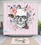 Unique Custom Bathroom 2-Piece Set Skulls Decorations Collection Skull And Blooms Catholic Popular Ceremony Celebrating Artistic Vintage Des Shower Curtains And Bath Mats Set, 66''Wx72''H & 23''Wx16''H