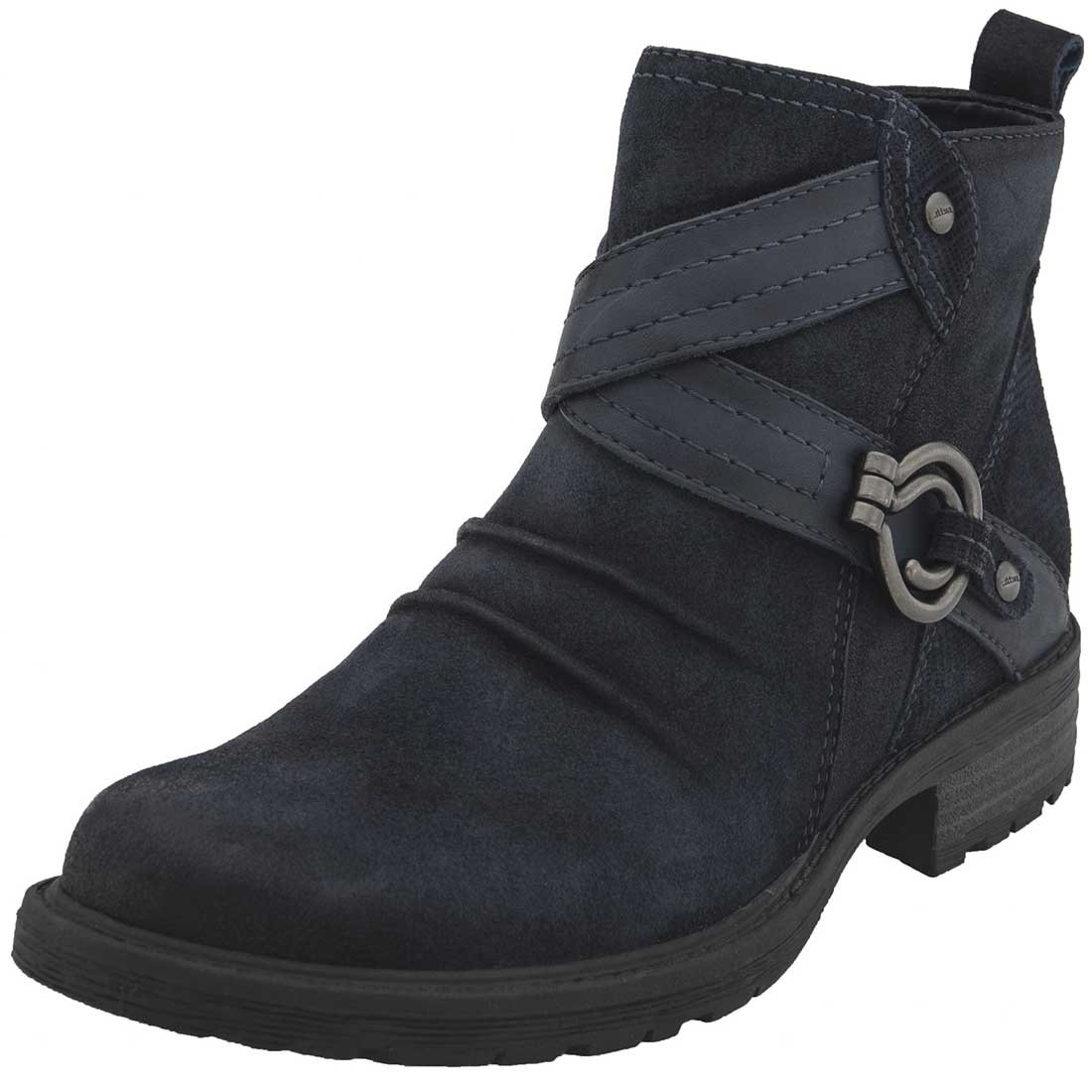Earth Womens Laurel Leather Almond Toe Ankle Combat Boots B06W5615XP 6.5 B(M) US|Navy Suede