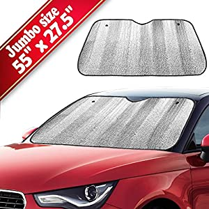 "Big Ant Car Windshield Sunshade UV Ray Reflector Auto Window Sun Shade Visor Shield Cover, Keeps Vehicle Cool- Sliver (55"" x 27.5"")"
