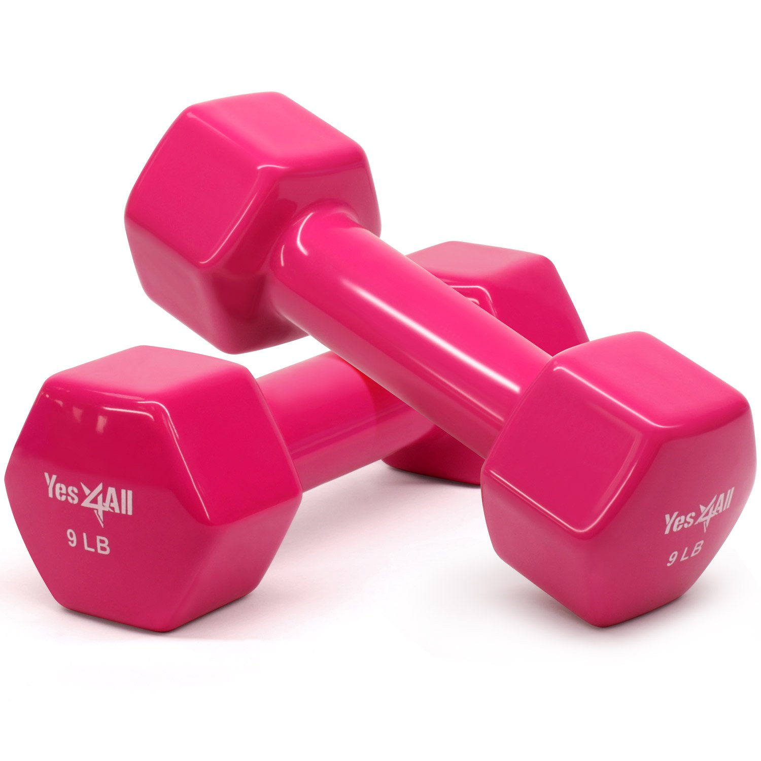 Yes4All Deluxe Vinyl Coated Cast Iron Dumbbell Weights - PVC Dumbbell Sets for a Total Body Workout (Sets of 2, Hot Pink, 9lbs)