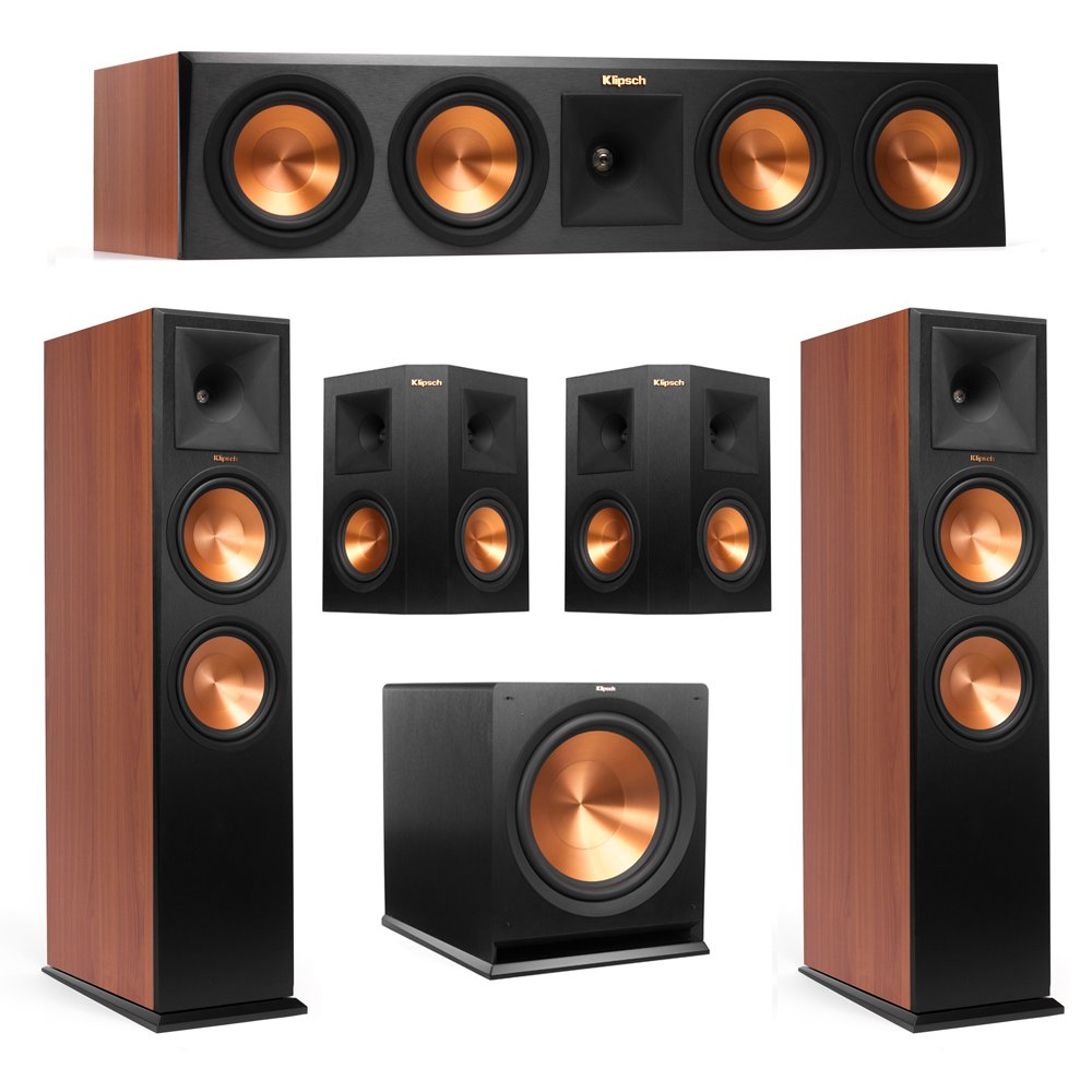 Klipsch 5.1 Cherry System with 2 RP-280F Tower Speakers, 1 RP-450C Center Speaker, 2 Klipsch RP-250S Surround Speaker, 1 Klipsch R-115SW Subwoofer + AudioQuest Bundle