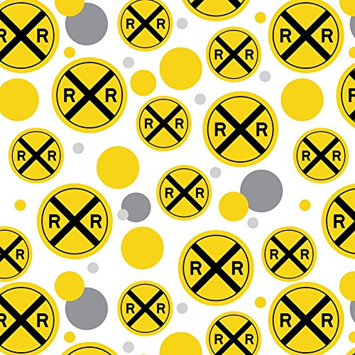 Crossing Pattern (Premium Gift Wrap Wrapping Paper Roll Pattern - Symbols - Railroad Crossing Traffic Sign Train)