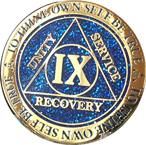 9 Year AA Medallion Reflex Blue Glitter Gold Plated Color Chip -