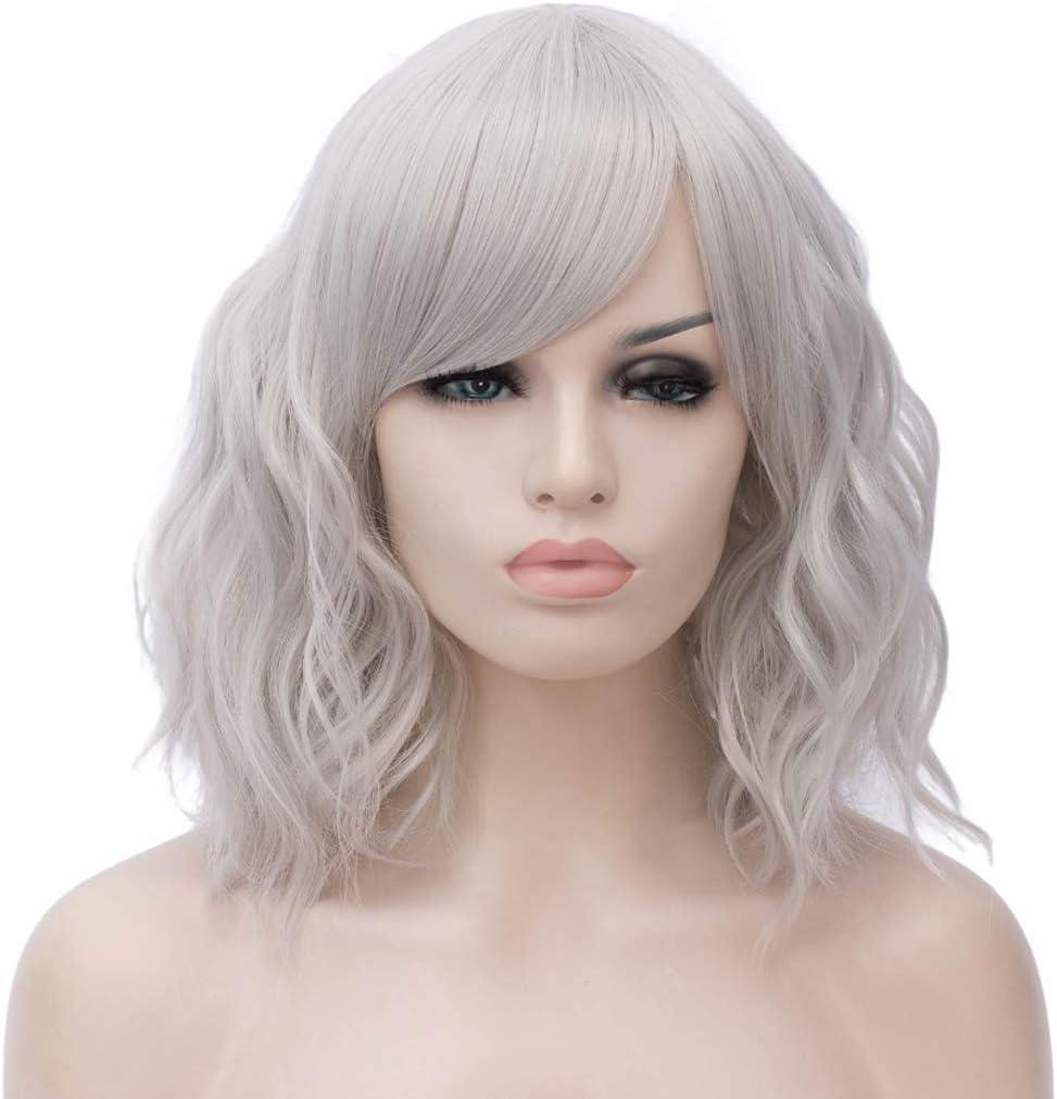 Atayou Women S Wig Short Curly Grey Synthetic Bob Wigs With 1 Wig Cap Amazon Co Uk Beauty