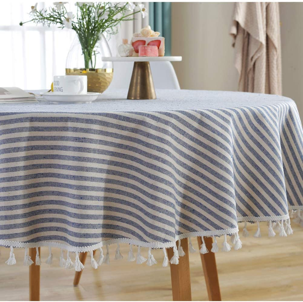 AMZALI Stripe Tassel Tablecloth Cotton Linen Table Cloth Stain Resistant Dust-Proof Table Cover for Kitchen Dinning Tabletop Home Decoration (Round 60 Inch, Blue)